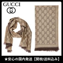【VIP】国内発◆グッチ◆GGロゴ knitted scarf*関送込
