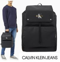 CALVIN KLEIN JEANS COATED COTTON  FLAP バックパック ブラック