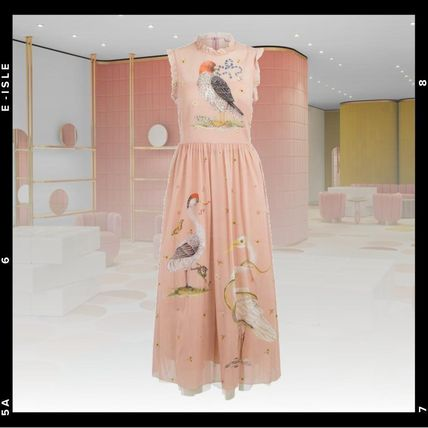 RED VALENTINO ワンピース 【Red Valentino】Printed long silk and tulle dress