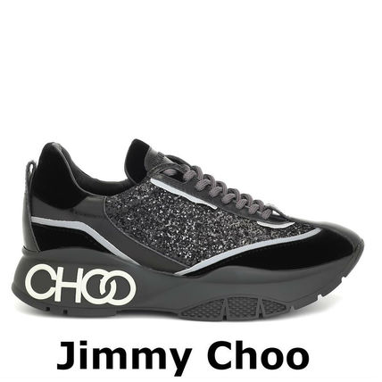 Jimmy Choo スニーカー 関税込☆JIMMY CHOO ☆Raine glitter sneakersブラック(4)