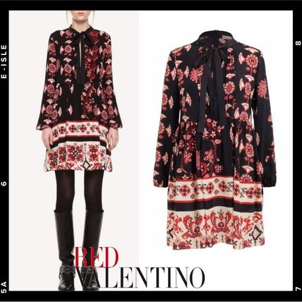 RED VALENTINO ワンピース 【Red Valentino】Snow Flower Ramage short silk dress