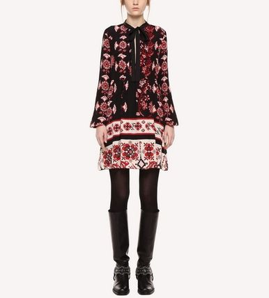 RED VALENTINO ワンピース 【Red Valentino】Snow Flower Ramage short silk dress(3)