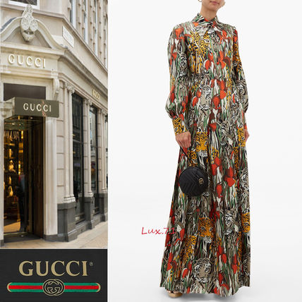 check out c7c7a 09da6 安心国内発送【GUCCI】アニマルプリント マキシ丈 シャツワンピ
