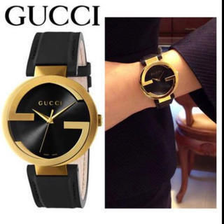 GUCCI(グッチ) アナログ時計 破格☆SALE☆Gucci Interlocking Black Leather Strap Watch42MM