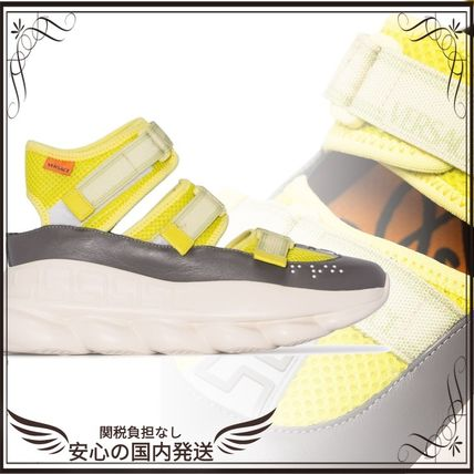 VERSACE スニーカー 関税込◆Lime green Chain Reaction high-top leather trim