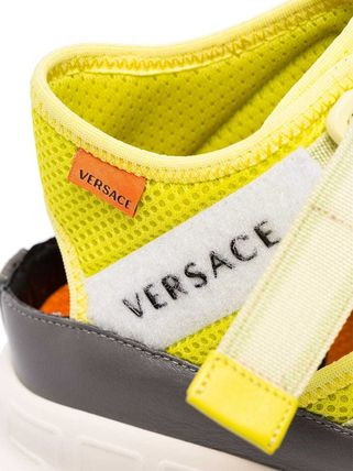 VERSACE スニーカー 関税込◆Lime green Chain Reaction high-top leather trim(6)