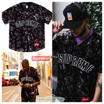 ★AW19 WEEK 1★Supreme - Floral Velour Baseball Jersey