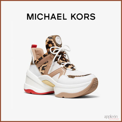 Michael Kors スニーカー ☆MICHAEL KORS Olympia Leopard Calf Hair and Leather Trainer