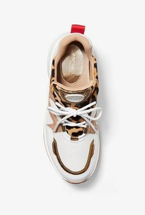 Michael Kors スニーカー ☆MICHAEL KORS Olympia Leopard Calf Hair and Leather Trainer(4)