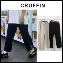 ☆CRUFFIN☆ Side Snap Button Crop Wide Pants ( Black )