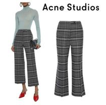 Acne Studios☆Cropped checked wool-blend bootcut pants