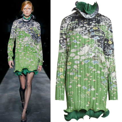 GIVENCHY ワンピース G548 LOOK15 FLORAL PRINT PLEATED DRESS