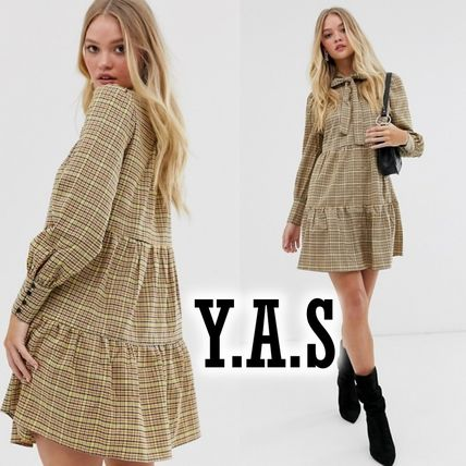 ASOS ワンピース Y.A.S 新作 チェックティアードワンピ  ☆送料込☆