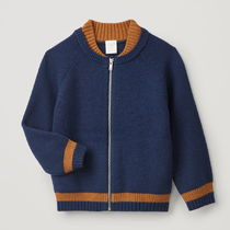 """COS(コス) キッズアウター """"COS KIDS"""" COTTON-WOOL BOMBER JACKET NAVY/BROWN"""