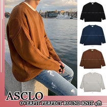 ASCLO★韓国の人気★OVERFIT PERFECT ROUND KNIT 4色