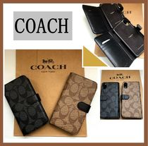 Coach☆ シグニチャー iphone X・Xs手帳型ケース☆送\税込み