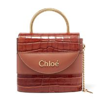 ∞∞ CHLOE ∞∞ Aby Lock small croc-effect leather  トート☆