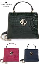 kate spade☆romy croc-embossed leather top handle bag