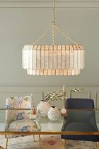 【Anthropologie】Madelyn Oval Faceted Chandelier WHITE 照明