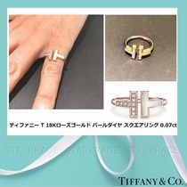 [Tiffany] ティファニー T 18K Rose Gold Pearl Ring 0.07ct