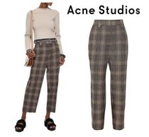 Acne Studios☆Cropped checked wool &cotton-blend ストレートパンツ