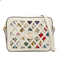 ∞∞ GUCCI ∞∞ Cutout leather and floral-print canvas bag☆
