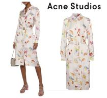 Acne Studios☆Alloy belted printed satin-twill shirt dress