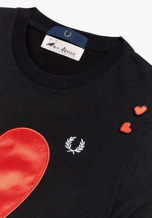 FRED PERRY Tシャツ・カットソー フレッドペリー SG7114 102 WOMEN AMY WINEHOUSE HEART DETAIL T(3)