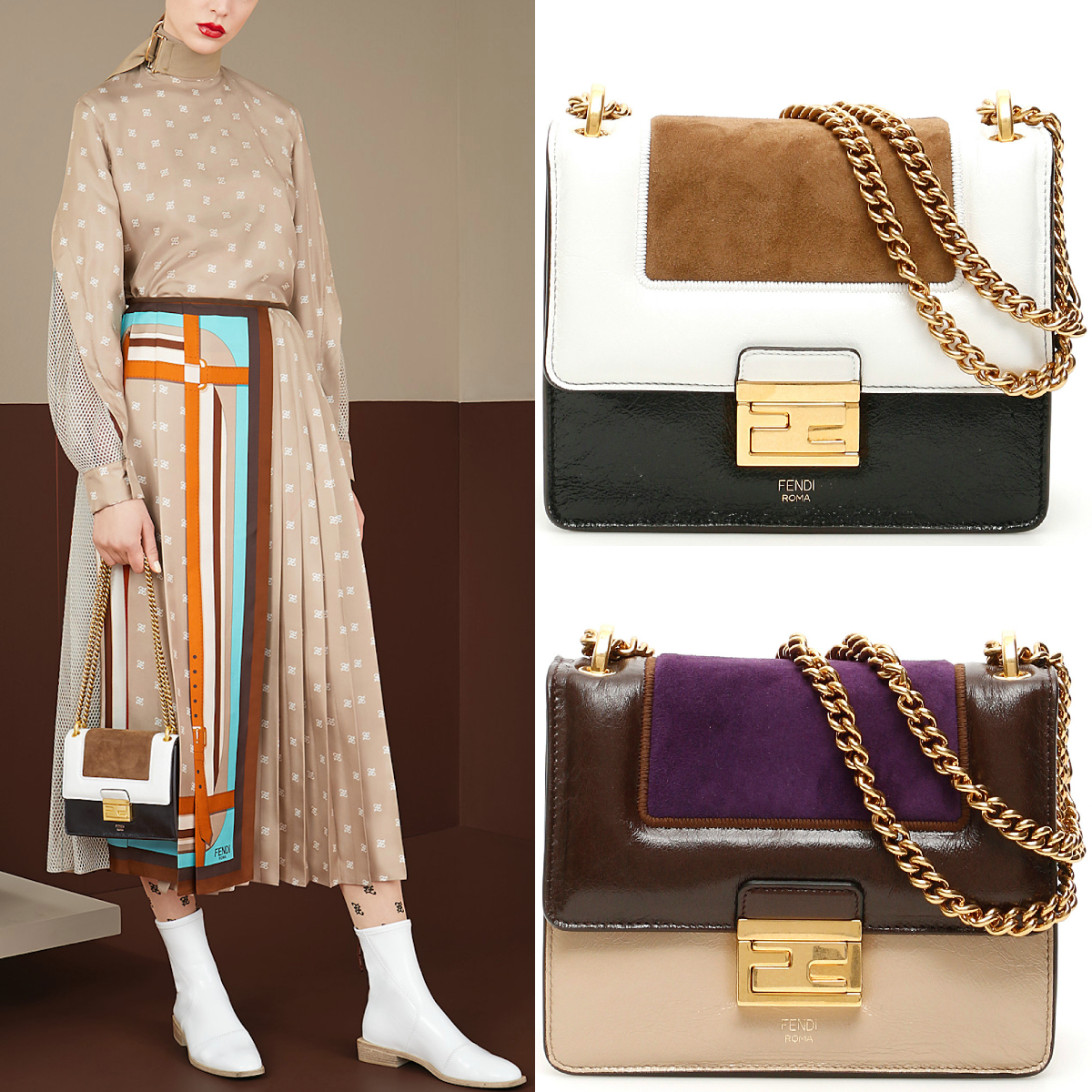 FE2630 KAN U SMALL IN LEATHER & SUEDE (FENDI/ショルダーバッグ・ポシェット) 8BT312A9X7F18XP  8BT312A9X7F18XM