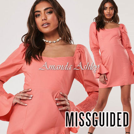 Missguided ワンピース ★MISSGUIDED-シャーリングスリーブタイトミニワンピ-CORAL★