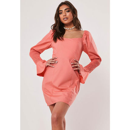 Missguided ワンピース ★MISSGUIDED-シャーリングスリーブタイトミニワンピ-CORAL★(2)