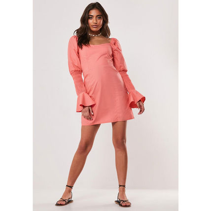 Missguided ワンピース ★MISSGUIDED-シャーリングスリーブタイトミニワンピ-CORAL★(3)