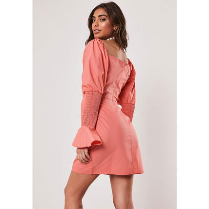 Missguided ワンピース ★MISSGUIDED-シャーリングスリーブタイトミニワンピ-CORAL★(4)