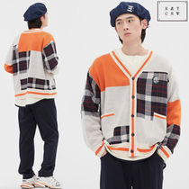ROMANTIC CROWN ★ SQUARE CHECK KNIT CARDIGAN_ ORANGE
