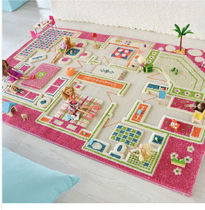 Children's 3D PlayRug Pink House-100x150cm(送料・関税込)