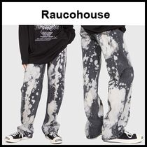 ☆RAUCOHOUSE☆  COW BLEACHED DARK DENIM PANTS