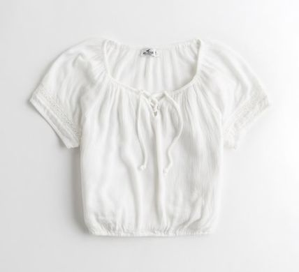 Hollister Co. Tシャツ・カットソー 国内発送&3色から★Hollisterレースアップトップス(2)