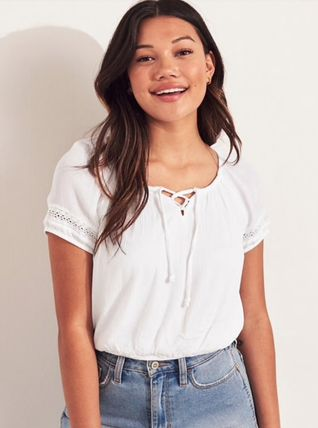 Hollister Co. Tシャツ・カットソー 国内発送&3色から★Hollisterレースアップトップス(3)
