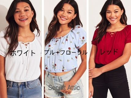 Hollister Co. Tシャツ・カットソー 国内発送&3色から★Hollisterレースアップトップス(15)