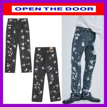 [OPEN THE DOOR]  straight-fit painting black jeans  / 追跡付