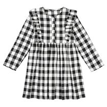 La Redoute★Cotton Long-Sleeved Checked Dress 3-12A
