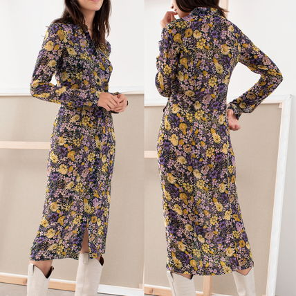 "& Other Stories ワンピース ""& Other Stories"" Floral Utility Midi Shirt Dress Purple"