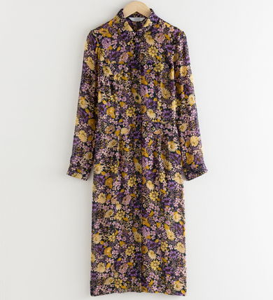 "& Other Stories ワンピース ""& Other Stories"" Floral Utility Midi Shirt Dress Purple(2)"