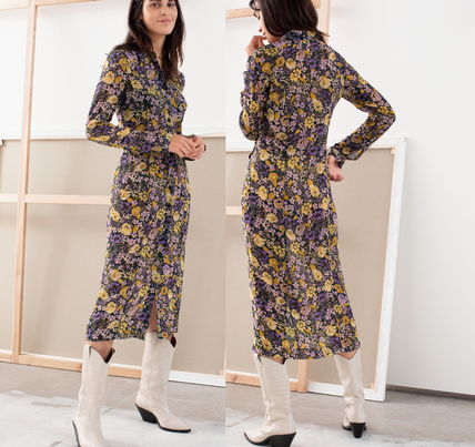 "& Other Stories ワンピース ""& Other Stories"" Floral Utility Midi Shirt Dress Purple(4)"