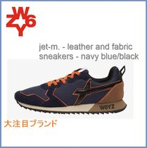 New[W6YZ] jet-m. leather and fabric sneakers-navy blue/black