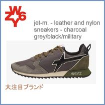 [W6YZ] jet-m.leather and nylon sneakers-charcoal grey/black