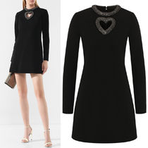 WSL1527 WOOL JERSEY DRESS WITH BEADED DETAIL