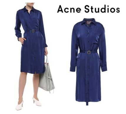 Acne ワンピース 関税・送料込 Acne Studios☆Belted crinkled-satin shirt dress