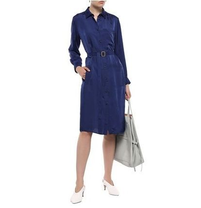 Acne ワンピース 関税・送料込 Acne Studios☆Belted crinkled-satin shirt dress(3)