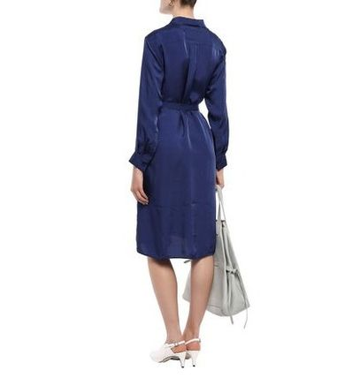 Acne ワンピース 関税・送料込 Acne Studios☆Belted crinkled-satin shirt dress(5)